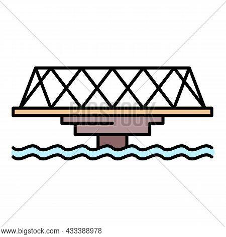 Metal Bridge Icon. Outline Metal Bridge Vector Icon Color Flat Isolated