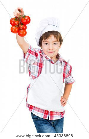 boy in dress Food Boy with tomatoes on white background