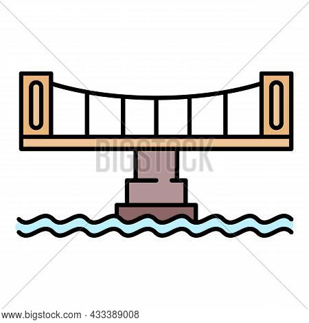 Modern Bridge Icon. Outline Modern Bridge Vector Icon Color Flat Isolated