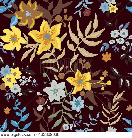 Tropical Floral Pattern. Colorful Graphic Floral Vector Seamless Pattern On Dark Background. Stylize