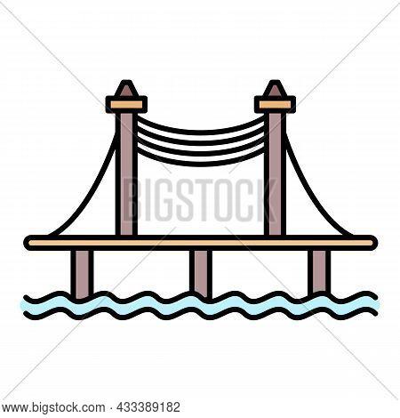 Autobahn Bridge Icon. Outline Autobahn Bridge Vector Icon Color Flat Isolated