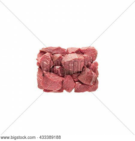 Large Sliced Cubes Of Red Meat Beef Or Pork, A Portion Of Igredient For Cooking Or Diain Packaging.