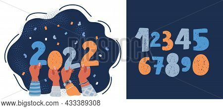 Vector Illustration Of 2022, Template For New Year Party Design, Congratulation