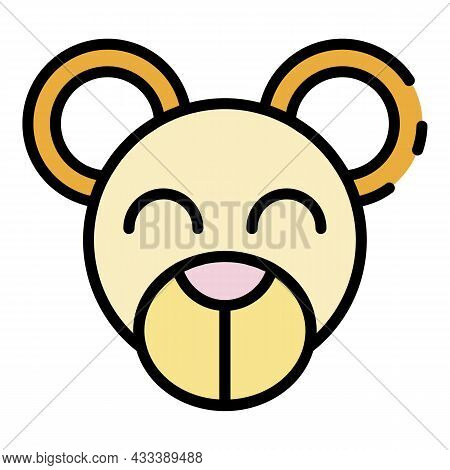 Teddy Bear Face Icon. Outline Teddy Bear Face Vector Icon Color Flat Isolated