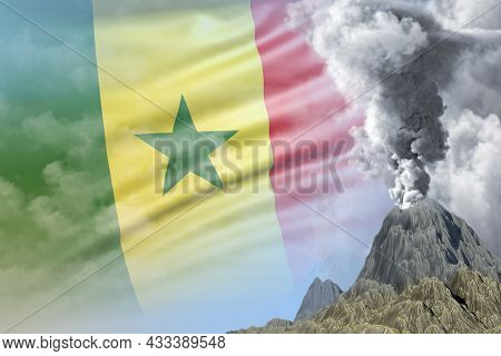 Volcano Blast Eruption At Day Time With White Smoke On Senegal Flag Background, Troubles Because Of