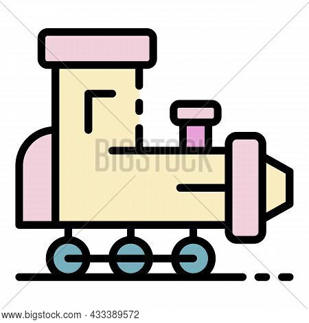 Toy Train Icon. Outline Toy Train Vector Icon Color Flat Isolated