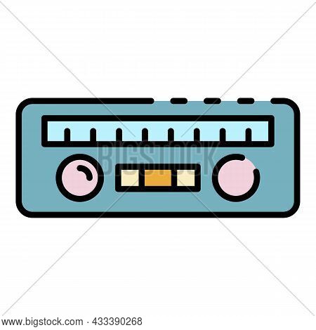 Car Radio Icon. Outline Car Radio Vector Icon Color Flat Isolated