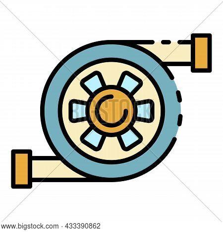 Car Turbine Icon. Outline Car Turbine Vector Icon Color Flat Isolated