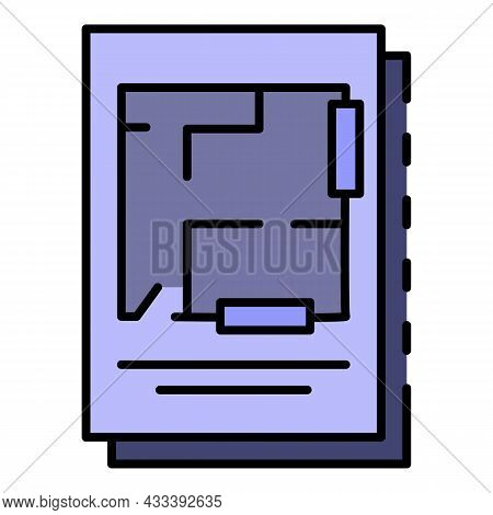Architecture Plan Icon. Outline Architecture Plan Vector Icon Color Flat Isolated