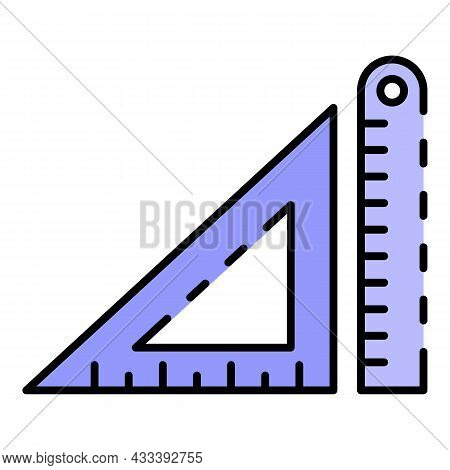 Architectural Ruler Icon. Outline Architectural Ruler Vector Icon Color Flat Isolated