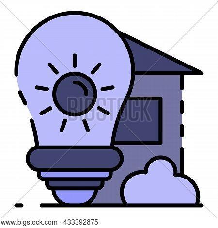 Architectural Bulb Idea Icon. Outline Architectural Bulb Idea Vector Icon Color Flat Isolated