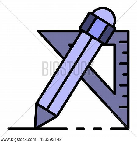 Pencil Angle Ruler Icon. Outline Pencil Angle Ruler Vector Icon Color Flat Isolated