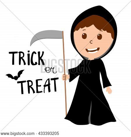 Boy Wearing Grim Reaper Costume With Scythe. Halloween Costume. With Sign Trick Or Treat. Vector
