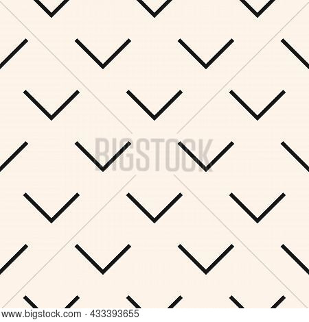 Minimalistic Seamless Geometric V-shaped Pattern. Modern Monochrome Vector With White Background Tex