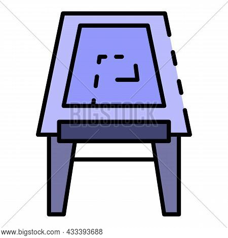 Draw Plan Desk Icon. Outline Draw Plan Desk Vector Icon Color Flat Isolated