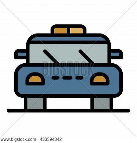 Police Patrol Car Icon. Outline Police Patrol Car Vector Icon Color Flat Isolated