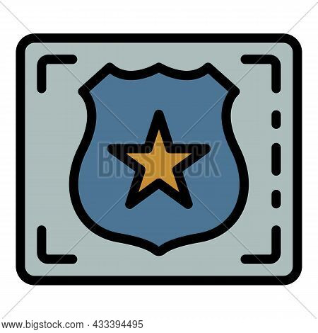 Detect Police Emblem Icon. Outline Detect Police Emblem Vector Icon Color Flat Isolated
