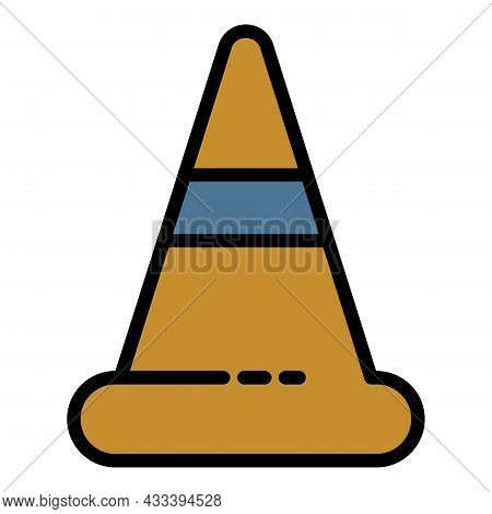 Road Cone Icon. Outline Road Cone Vector Icon Color Flat Isolated