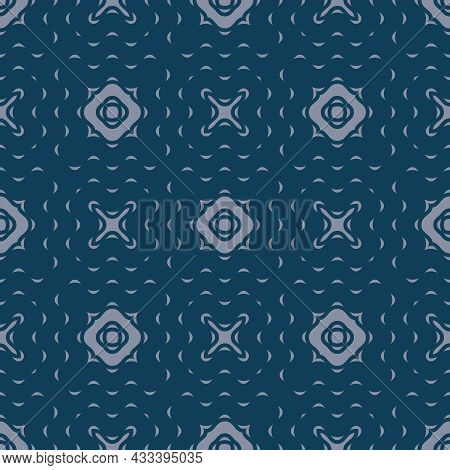 Organic Vintage Ornament. Seamless Pattern With Liquid And Wavy Navy Blue Shapes. Vector Illustratio