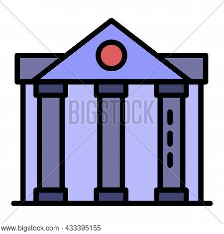 Column Courthouse Icon. Outline Column Courthouse Vector Icon Color Flat Isolated