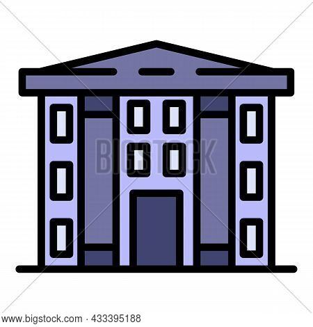 Finance Courthouse Icon. Outline Finance Courthouse Vector Icon Color Flat Isolated