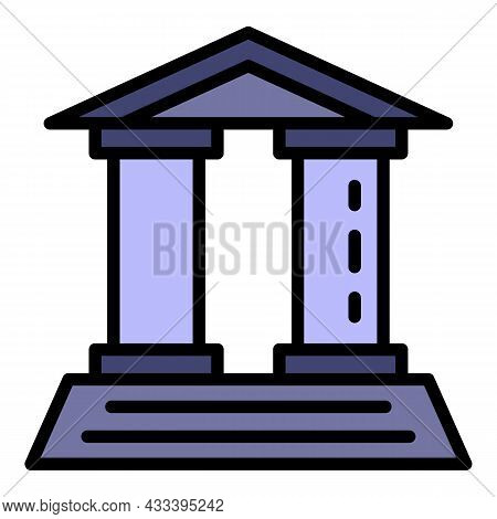 Law Courthouse Icon. Outline Law Courthouse Vector Icon Color Flat Isolated
