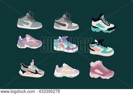 A Set With Various Bright Sneakers. Cartoon Sports Sneakers. Fashionable Sneakers For Design. Vector