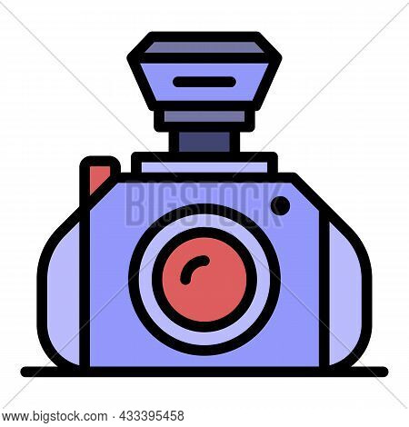 Professional Camera Icon. Outline Professional Camera Vector Icon Color Flat Isolated