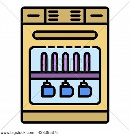 Dishwasher Machine Icon. Outline Dishwasher Machine Vector Icon Color Flat Isolated