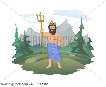 Poseidon, Ancient Greek God Of The Sea With Trident. Ancient Greece Mythology. Forest And Mountain L