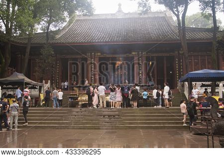 June 24, 2018.  Leshan, China. Tourists Visiting On A Foggy And Rainy Morning At Wuyou Buddhist Temp