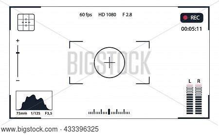 Viewfinder Vector Template- Record Frame Isolated On Transparent Background. Night Camera Military V