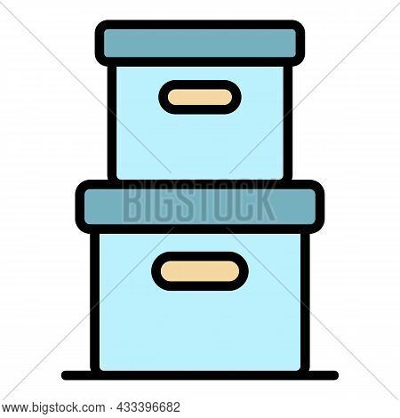 Stack Delivery Box Icon. Outline Stack Delivery Box Vector Icon Color Flat Isolated