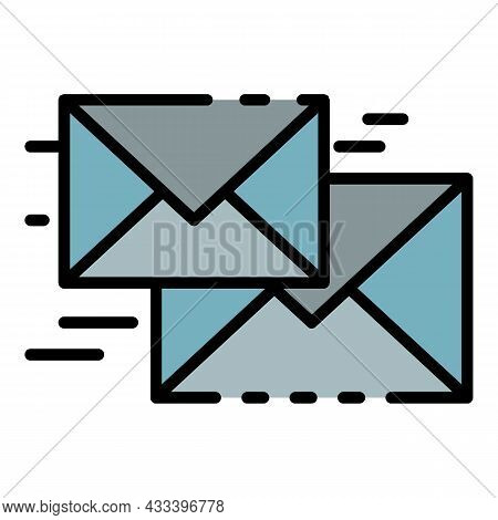 Flying Letter Icon. Outline Flying Letter Vector Icon Color Flat Isolated