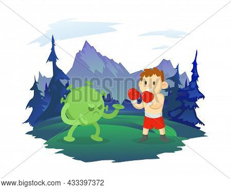 A Boy Boxer Fights With A Virus Covid-19. Mountain Landscape In The Background. Sports And A Healthy