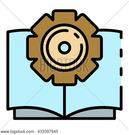 Interactive Book Learning Icon. Outline Interactive Book Learning Vector Icon Color Flat Isolated