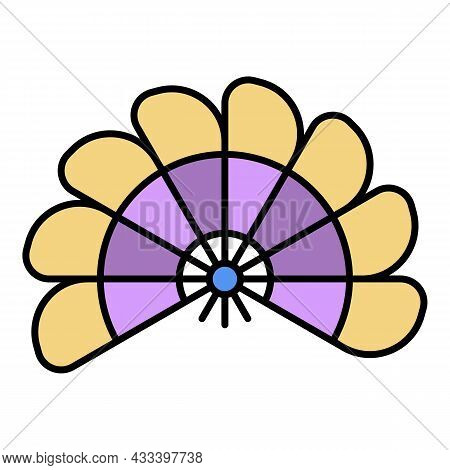 Handheld Fan Icon. Outline Handheld Fan Vector Icon Color Flat Isolated