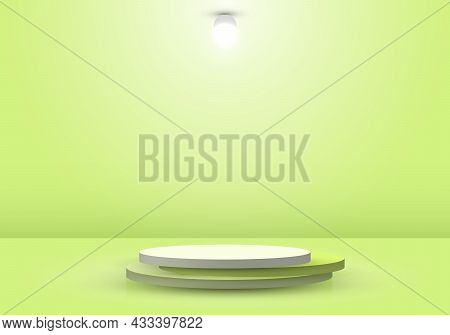 3d Realistic Green Podium Or Pedestal With Circle Light Lamp In Stage Ceremony Background. You Can U