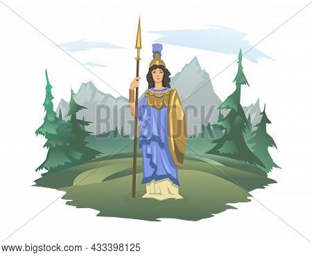 Athena, Ancient Greek Goddess Of Wisdom, War, And Useful Arts. Ancient Greece Mythology. Forest And