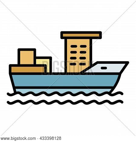 Container Ship Icon. Outline Container Ship Vector Icon Color Flat Isolated