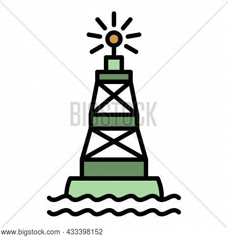 Port Marine Buoy Icon. Outline Port Marine Buoy Vector Icon Color Flat Isolated