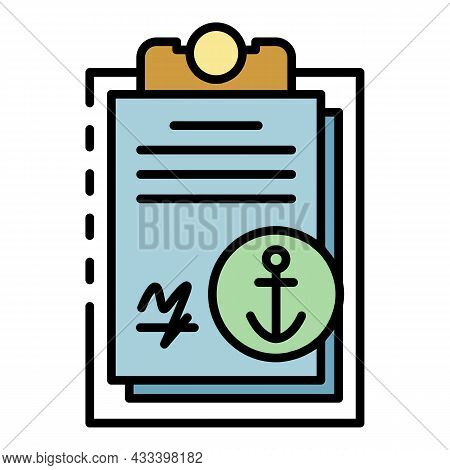 Marine Port Clipboard Icon. Outline Marine Port Clipboard Vector Icon Color Flat Isolated