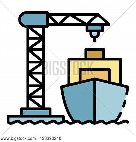 Ship Load Port Crane Icon. Outline Ship Load Port Crane Vector Icon Color Flat Isolated