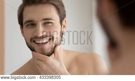 Man Touch Bristled Chin Feels Satisfied After Facial Shaving