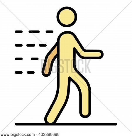 Walking Man Icon. Outline Walking Man Vector Icon Color Flat Isolated
