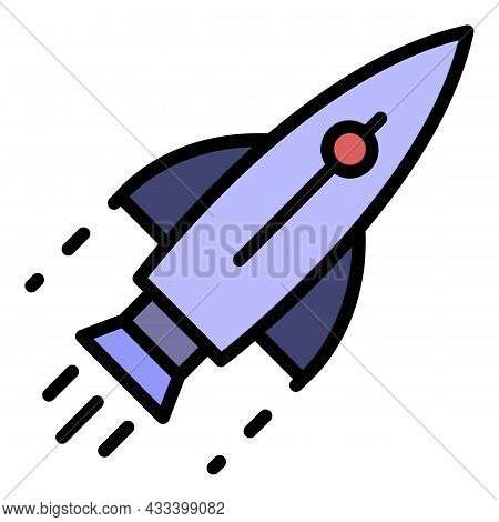 Flying Rocket Icon. Outline Flying Rocket Vector Icon Color Flat Isolated