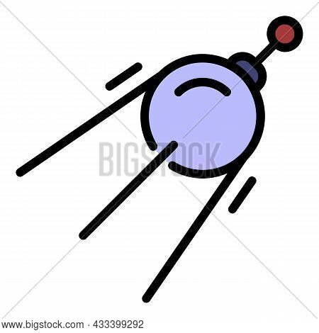 Space Earth Satellite Icon. Outline Space Earth Satellite Vector Icon Color Flat Isolated