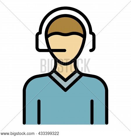 Man Headset Call Center Icon. Outline Man Headset Call Center Vector Icon Color Flat Isolated