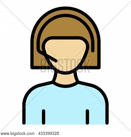 Woman Call Center Icon. Outline Woman Call Center Vector Icon Color Flat Isolated