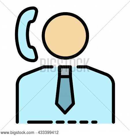 Call Center Help Icon. Outline Call Center Help Vector Icon Color Flat Isolated